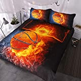 Basketball Bedding, Boy Or Girl, 3D Shooting Basketball, Red Flame and Blue Water, 3-Piece Sports Duvet Cover (Full Piece) 1 135x200cm+ 2X (50x75cm)