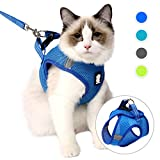 LIANZIMAU Cat harness and leash Set Escape Proof Reflective Adjustable Soft Mesh Padded