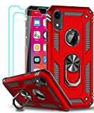 LeYi Compatible for iPhone XR Case with Tempered Glass Screen Protector [2 Pack], LeYi [Military-Grade] Defender Protective Phone Case with Magnetic Ring Kickstand for iPhone XR 10 10XR, Red