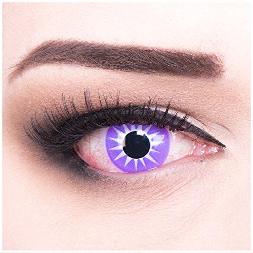 Funnylens 1 Paar deckend farbige Crazy Fun violet lila Linsen Indian Sun weiss Stern Jahres Kontaktlinsen. Perfekt zu Halloween, Karneval, Fasching oder Fasnacht mit gratis Kontaktlinsenbehälter ohne Stärke!