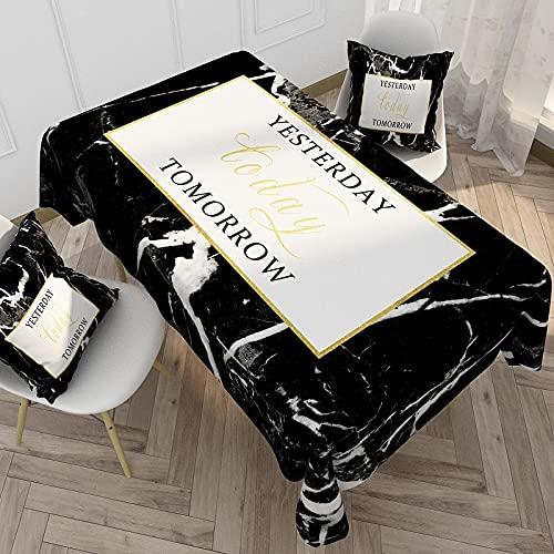 XXDD Cubierta de Mesa en Blanco y Negro Mantel Rectangular Mesa de Comedor de Fiesta Cocina del hogar Mantel a Prueba de Polvo y Caliente A7 140x200cm