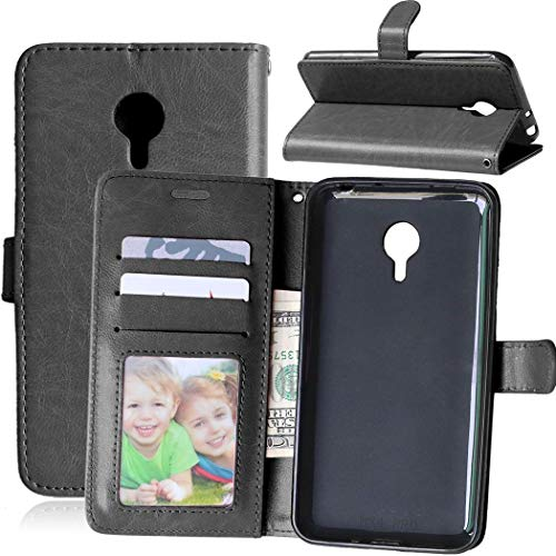 Wenlon Handy PU Hülle für Meizu MX4 Pro, Hochwertige Business Kunstleder Flip Wallet Handyhülle mit Card Slot Funktion, Bracket Funktion - Schwarz