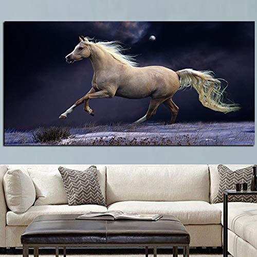 zgwxp77 Immagine Moderna HD Stampa Cavallo in Esecuzione Art Pittura Poster Pop Art Immagine su tela50x 100 cm Senza Cornice