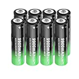 8 Pack Button Top 3.7V Rechargeable Battery Cell for LED Flashlight