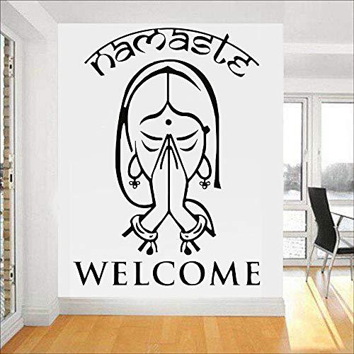 jtxqe Wandaufkleber Schlafzimmer Schwarz Willkommenswörter Indian Yoga Namaste Mode Brief Wandaufkleber Für Baby Kinderzimmer Jungen Schlafzimmer Dekor Kunst Aufkleber 78X57cm