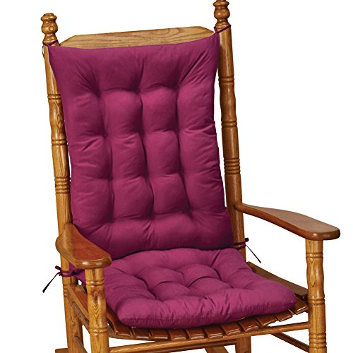 Collections Etc Quilted Chair Cushion Set - Perfect for Rocking Chairs, Dining Chairs or Armchair, Burgundy