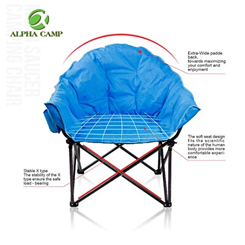 ALPHA CAMP Oversized Moon Saucer Chair with Folding Cup Holder and Carry Bag -...