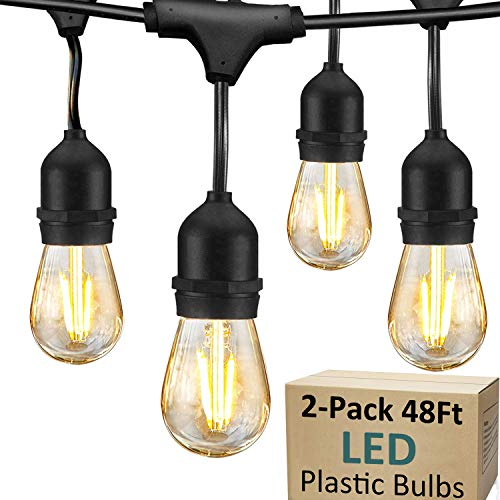 2 Pack LED Outdoor String Lights for Patio - 48FT Commercial Waterproof Strand Patio String Lights, Hanging 2W Dimmable Edison...
