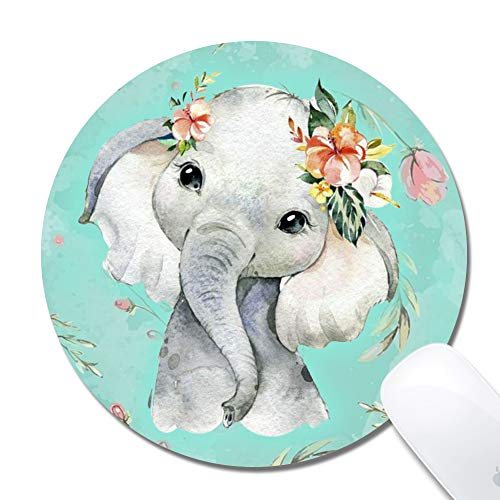Cholaty Mouse Pad - Thick Natural Rubber Keyboard Mouse Mat Rectangle Non-Slip Rubber Base Mouse Pad Wrapping Edge Cute Elephant Gaming Mouse Pad