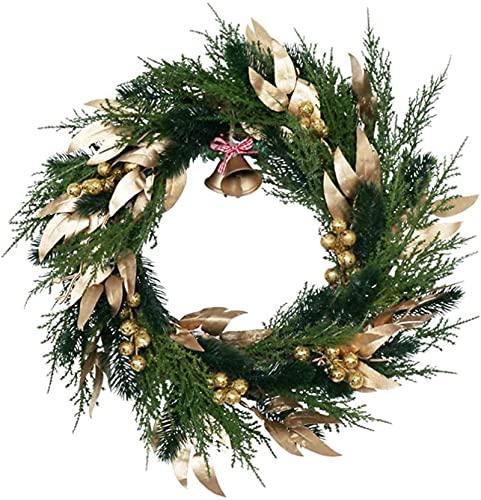 HYJMJJ Decoraciones navideñas 1pc Simuled Hoja Guirnalda Natural Inicio Garland Colgante Decoración de Navidad Verde
