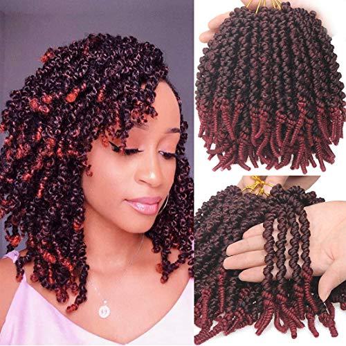 Leeven 6 packs Pre-twisted Court Bob Spring Twist Crochet 8 pouces Torsades Cheveux Ombre Vin Red Pré-torsadé Passion Crochet Tresses pour Femme Noire 15 Strands/pack TBUG#