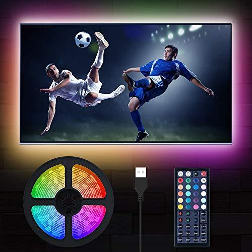 LED TV Beleuchtung, MustWin 5M RGBW Hintergrundbeleuchtung für 50-75 Zoll USB LED Strip mit RF-Ferbedienung, Dimmbar 6 Modi 6000K Kaltweiß DIY mit Memoryfunktion für Neujahr Deko Fernseher PC
