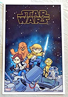 Star Wars # 1 Skottie Young Babies Comic Book Cover Art Lithograph 10 X 7 Inches - Marvel Comics 2015 - Uncirculated Graded 9.8 By The Seller - This Is Not A Comic Book