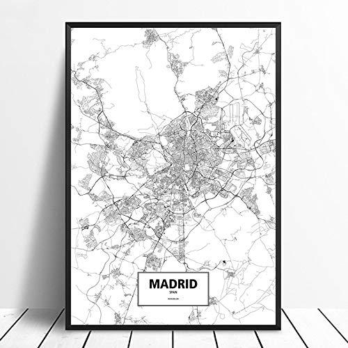 Cuadro Impresiones En Lienzo,Madrid España Negro Blanco Personalizado Mapa De La Ciudad Del Mundo Imágenes Impresión En Lienzo Estilo Nórdico Arte De La Pared Póster Sala De Estar Decoración Par
