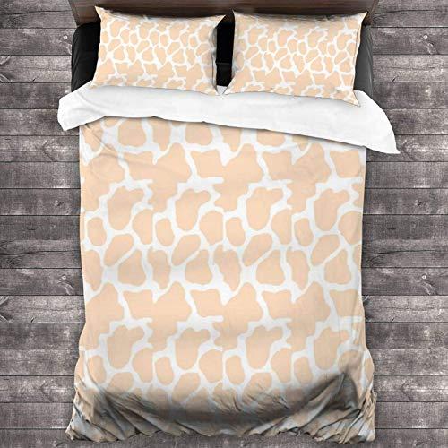 Cow Print Heart Sticker Pack - Peach Orange 3-Piece Bedding Set 86x70 inch Super Soft Warm Duvet Cover, Queen Bedding Set with 2 Pillow Cover
