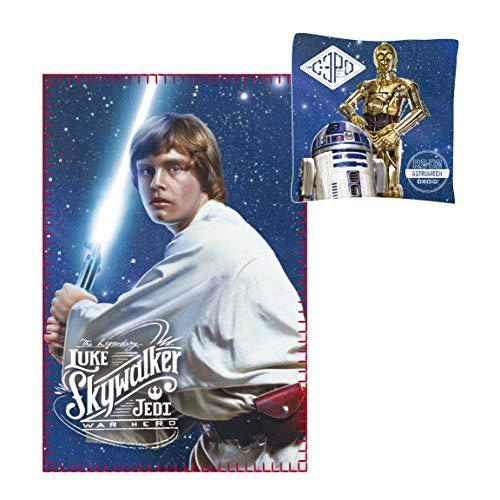 Krieg der Sterne Star Wars - Fleecedecke 100 x 150 cm + Kissen 40 x 40 cm Luke Skywalker - A New Hope - C3PO R2D2