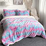 Sleepwish Shaggy Duvet Cover Purple Tie Dye Plush Bedding Luxury Ultra Soft Crystal Velvet Bedding Sets Faux Fur Sherpa Backing 3 Piece Bed Comforter Cover with 2 Pillowcases (Twin)