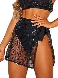 Black Sequin Wrap Mini Skirt