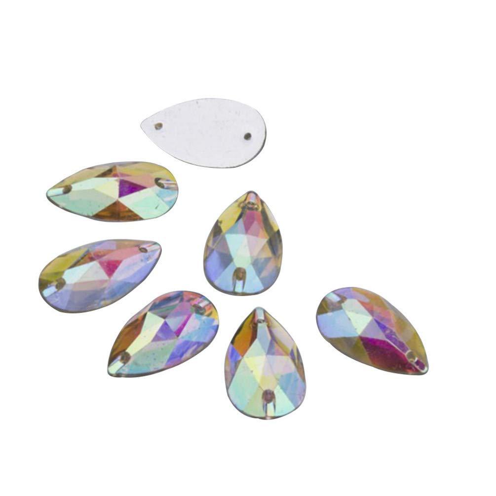 Healifty 50pcs Teardrop Sales Shape Sew On Back Crystals AB Resin Regular dealer Flat