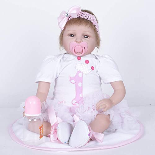 QWER Reborn Babypuppen mädchen 22 Zoll 55cm Ganz  Silikon Real Life Wie Reborn Puppe Weiße Vinyl Realistische Neugeborenes Baby Puppe Wasserdichte Magnet Schnuller Geschenk
