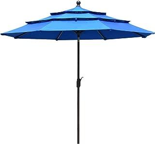 EliteShade Sunbrella 9Ft 3 Tiers Market Umbrella Patio Outdoor Table Umbrella with Ventilation and 10 Years Non-Fading Guarantee(Sunbrella Royal Blue)