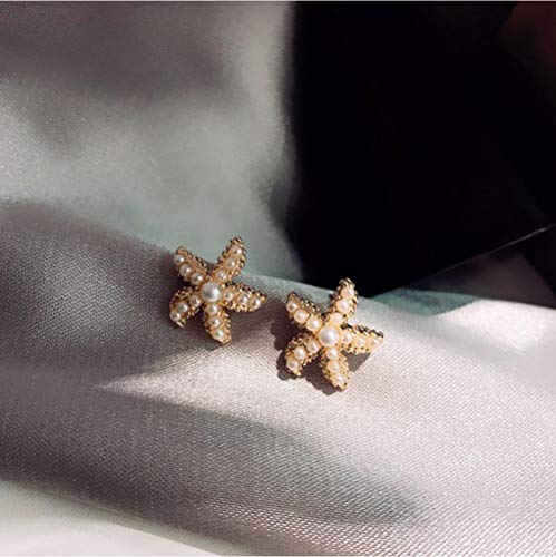 Vvff Holiday Sea Cute Simulated Pearl Starfish Stud Earrings For Women Sweet Elegant Jewelry Gifts