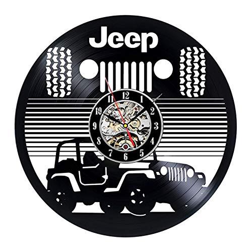 szhao Reloj de Pared con Disco de Vinilo Vintage con Logotipo de Coche, decoración 3D de diseño Moderno, Relojes de Vinilo Todoterreno geniales para SUV, Reloj de Pared, decoración del hogar