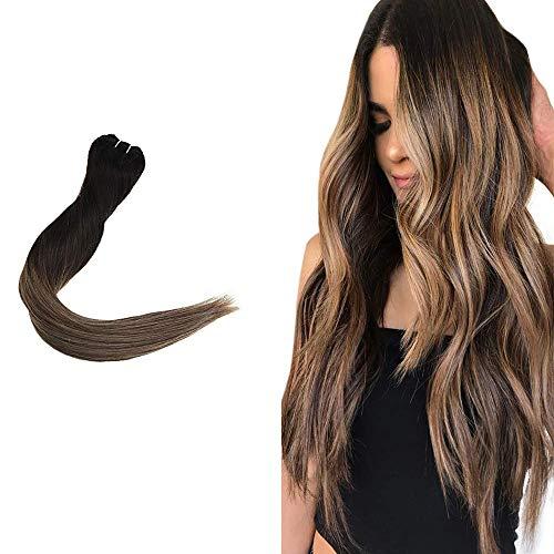 Easyouth Human Weave Haarbündel 40cm Shoulder Length 80g / Weben #1B/6/27 Natürliches Schwarz Mischen Mittel Braun Und Honigblond Echthaar Tressen Zum Einnähen