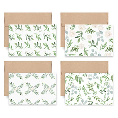 Bliss Collections Sweet Greenery All Occasion Blank Folded Cards with Envelopes, Bulk Pack of 24 Tented Notecards, 4x6 Assorted Cards for All Occasions Stationery Set