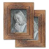Cilusar Juego de 2 marcos de fotos de madera, 13 x 18 cm, vintage, madera maciza,...