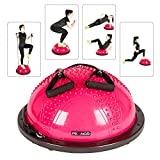 PEXMOR Yoga Half Ball Balance Trainer Exercise Ball Resistance Band Two Pump Home Gym Core Training (Massage Version - Pink)