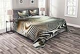 ABAKUHAUS Abstrakt Tagesdecke Set, Kreis Zebra-Streifen, Set mit Kissenbezügen farbfester Digitaldruck, für Doppelbetten 264 x 220 cm, Weiß Schwarz