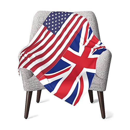 Olverz Manta de bebé con patrón de bandera de Estados Unidos y Reino Unido, súper suave, manta de recepción, unisex, manta transpirable para recién nacidos, niñas y niños