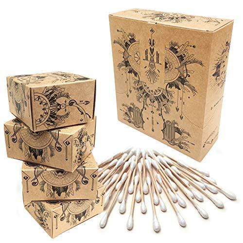 Nature Nerds – Coton tige (800 pièces) en bambou et coton bio, sans plastique & durable, nettoyeur d'oreilles, Q-Tips