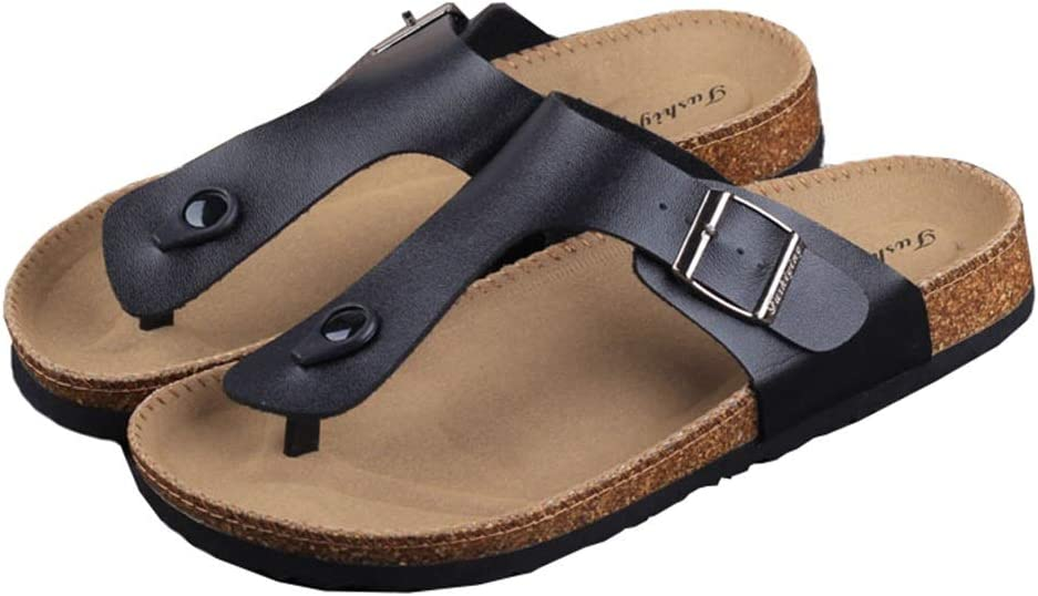 Slippers Summer Comfort Cork Beach Pinch Anti-Skid Flip Flops Men's Sandals Leather Sandals Women's Couples Slippers Home Out ZHAOFENGE (Color : Black, Size : 43)