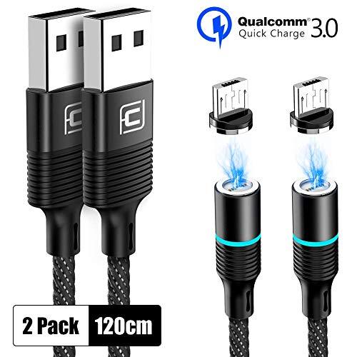 CAFELE Magnetisch Micro USB Kabel, 2 Stück Magnet Ladekabel 1,2m mit Weichem LED Licht, 3A Magnetic Datenkabel Nylon Kompatibilität für Android Samsung S7/S6/J7, Xiaomi, Huawei, Nokia, Nexus, Kindle