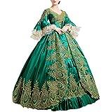 Nuoqi reg;Damen Satin Gothic Victorian Prinzessin Kleid Halloween Cosplay Kostüm grün (36, CC2367A)