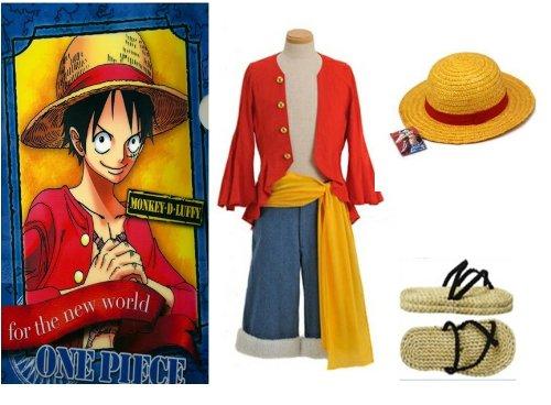 One Piece Monkey D. Ruffy Cosplay, 2 Jahre später Monkey D Luffy Kostüm Kombination, Größe XXL:(178-182cm,80-90 kg)