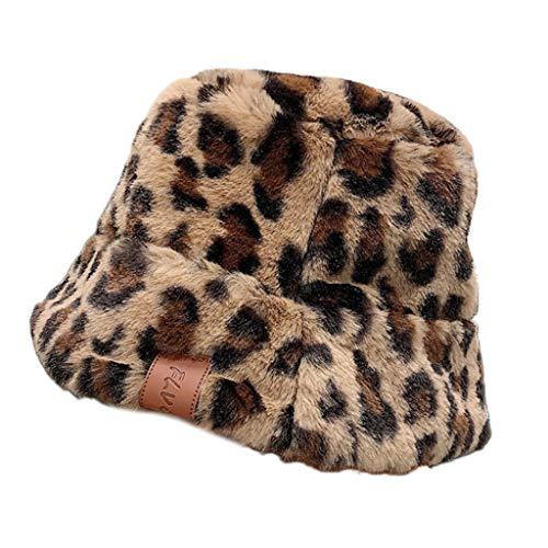 follwer0 Sombrero de pescador para mujer, gorro de invierno de peluche, gorro...