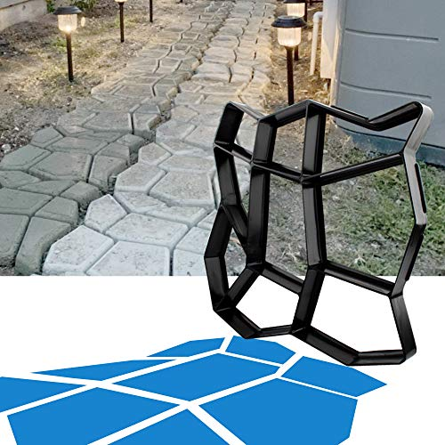 CJGQ 13.4'x13.4'x1.42' Walk Maker Reusable Concrete Path Maker Molds Stepping Stone Paver Lawn Patio Yard Garden DIY Walkway Pavement Paving Moulds (Irregular)