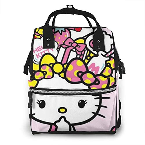 Diaper Bag- Cute Pink Kitty Mommy Bag, Multi-Function Large Capacity Travel Backpack Nappy Bag