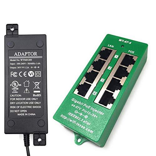 WT-GAT-4-56v60w, 4 Puertos Gigabit 802.3at / PoE + inyector de negociación automático con Fuente de alimentación de 56 voltios 60 vatios