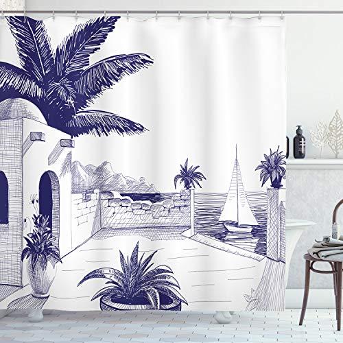 ABAKUHAUS Vintage Boat Duschvorhang, Strandhaus auf dem Seeweg, mit 12 Ringe Set Wasserdicht Stielvoll Modern Farbfest & Schimmel Resistent, 175x180 cm, Indigo & Weiß