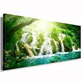 Julia-Art Leinwandbilder - Wasserfall Wald Grün Panorama - 60 mal 30 cm Leinwand auf Rahmen - sofort aufhängbar Wandbild XXL - Kunstdrucke QN145-1