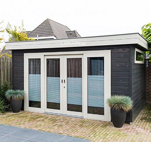 Lugarde Gartenhaus Amira aus Fichtenholz NEU mit gläserner Schiebetür und Flachdach