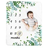 Baby Monthly Milestone Blanket Boy - Neutral Leaf Newborn Month Blanket for Boy & Girl Personalized Shower Gift Soft Plush Fleece Photography Background Prop with Wooden Wreath Large 51''x40''