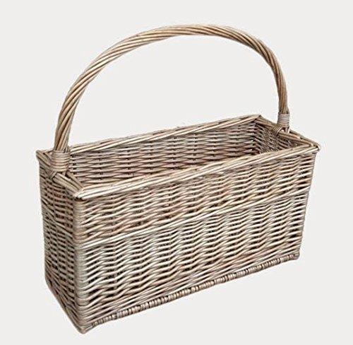 Red Hamper Antique Wash Magazine or Flask Basket, Wicker, Brown, 18 x 45 x 42 cm