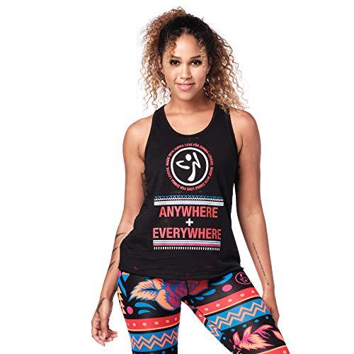 Zumba Aktiv Burnout Dance Workout Kleidung Damen Fitness-Tanktop mit Grafikdruck, Black Bold, M