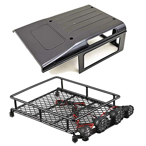 PQZATX 2 Set RC Car Part: 1 Pcs RC Car Roof Canopy Part Cover & 1 Set Roof Rack Luggage Carrier with LED Spotlights Bar