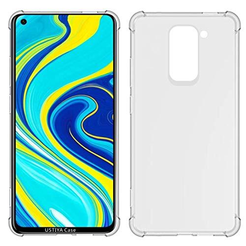USTIYA Funda para Xiaomi Redmi Note 9 Case Carcasa Bumper,Shock-Absorción TPU Transparente con Cuatro Esquinas Espesamiento